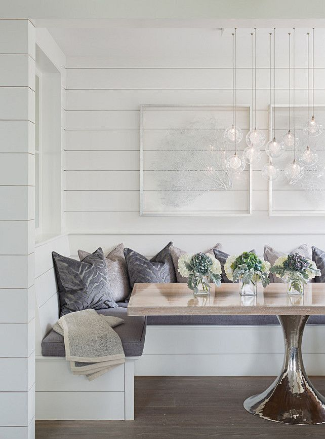 How cute is this dining nook from scout and nimble? Use Prefinished Wood Accents today to spruce up your dining area!