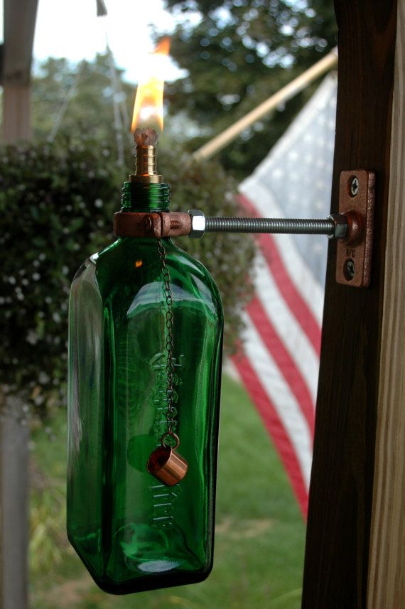 Upcycled Jagermeister bottle tiki torch by PineknobsAndCrickets, $18.00