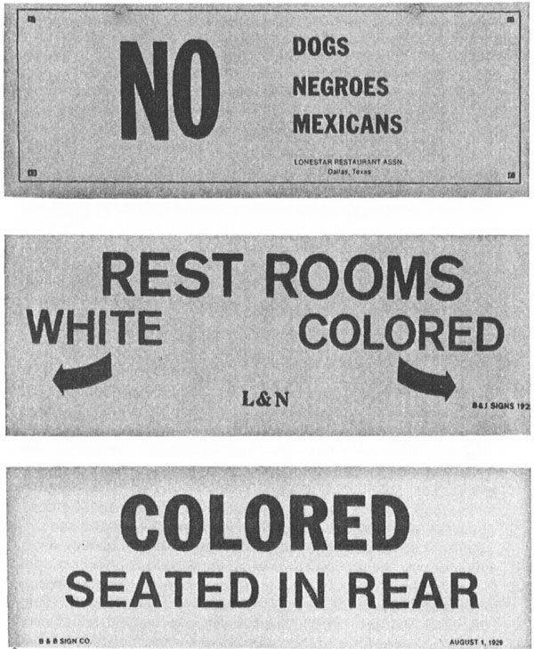 Until the 1950s, signs like these were common markers of legally enforced laws of racial segregation in America. Racial segregation in the United States as a general term, included physical separation and provision of separate facilities, services, and opportunities such as housing, medical care, education, employment, and transportation along racial lines.