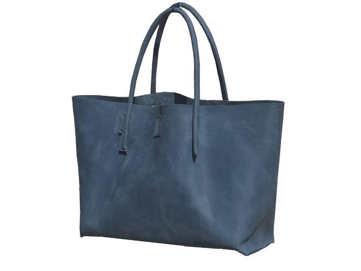 Big leather bag Leather shopper bag Handmade Shopper weekender Ledershopper semi-rigid leather used look handmade – elisabeth kluge