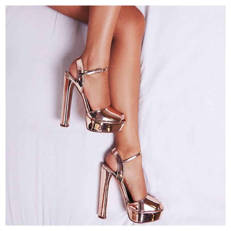 Golden rose. Bloom Peep Toe Platform Heel In Rose Gold Faux Leather.