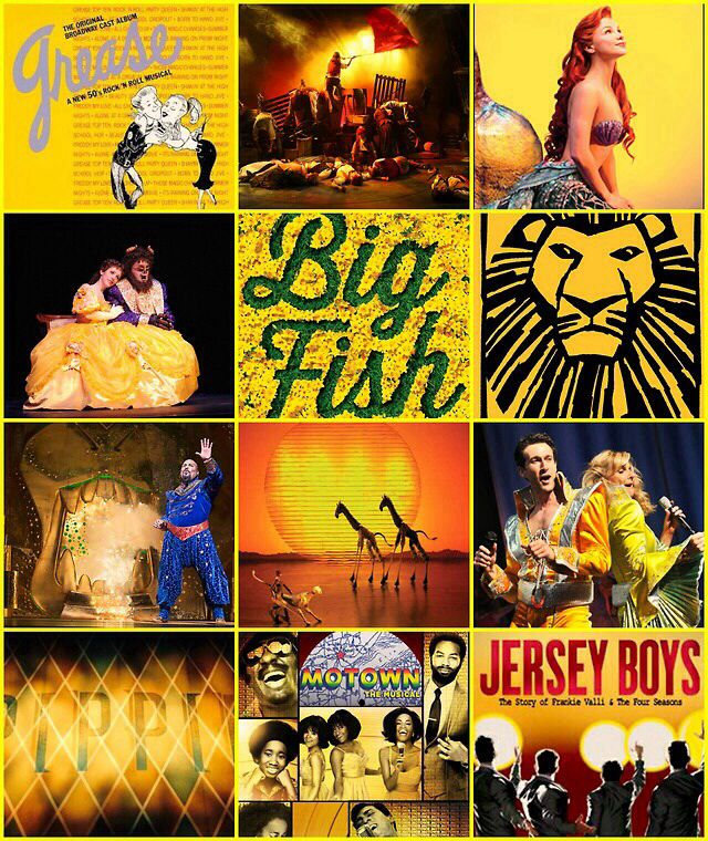 Broadway collage in yellow: from the top, Grease, The Little Mermaid, Beauty and the Beast, Big Fish, The Lion King, Aladdin, the Lion King, All Shook Up, Pippin, Motown the Musical, Jersey Boys