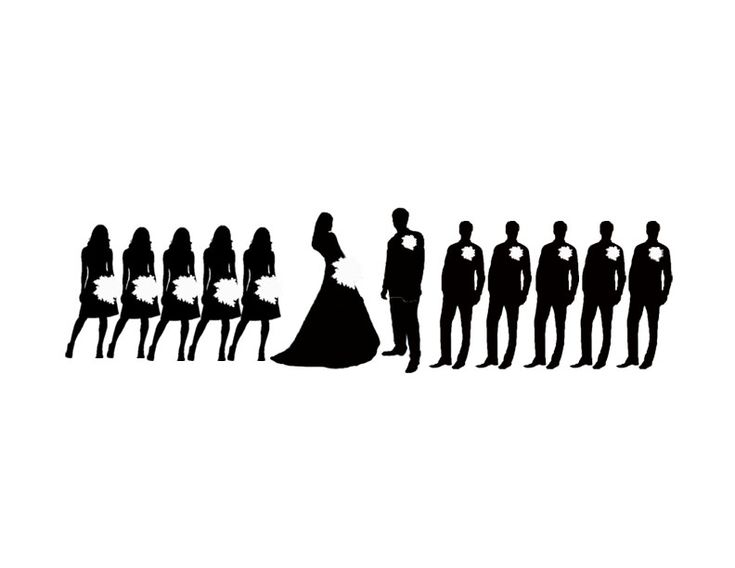 jpeg file of a wedding party silhouette for wedding programs 5 bridesmaids and 5 groomsmen. Black Bedroom Furniture Sets. Home Design Ideas