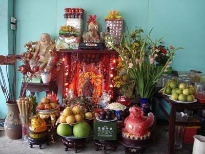 Religion: Nearly all Vietnamese people idol their ancestors, and believe that the lives of the living hang on the dead. Altars are commonly made to honor the dead with flowers and fruits and maybe a picture of the deceased.