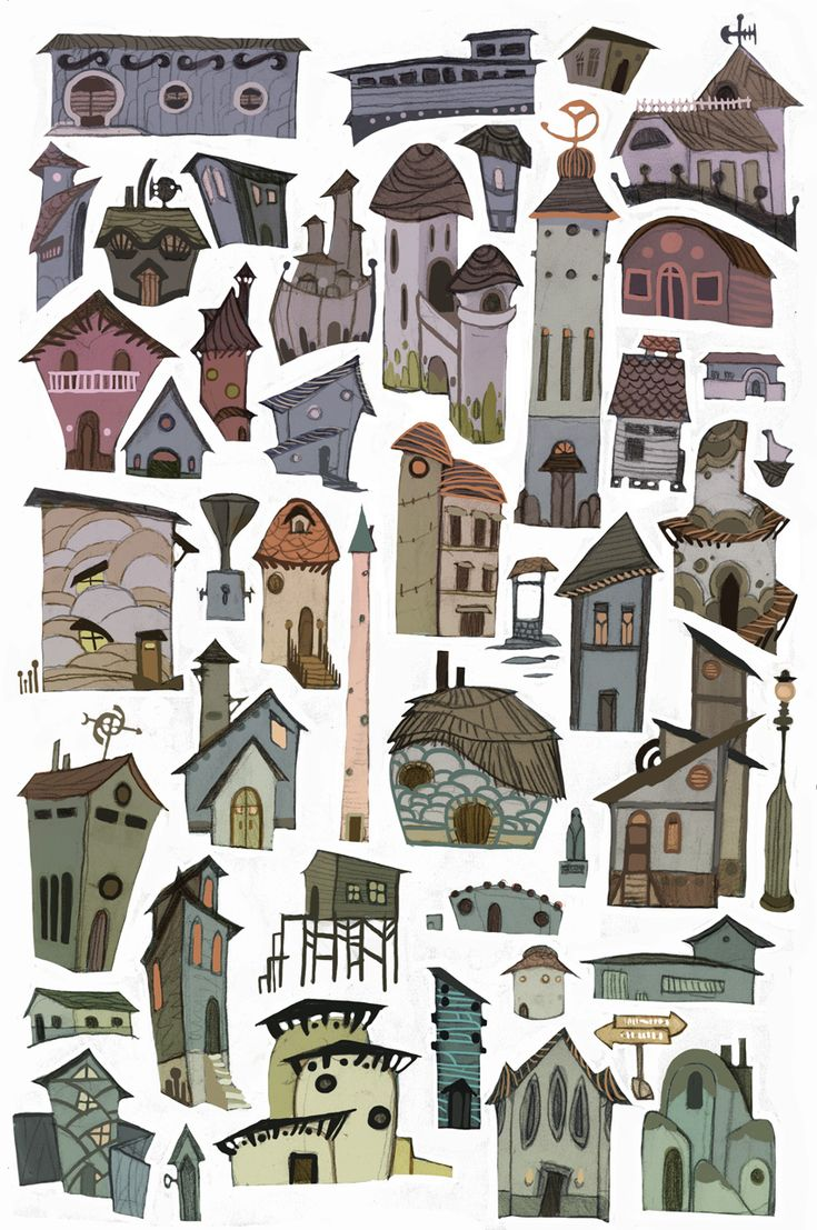 Répétition d'illustrations de bâtiments; Ne laisse aucun espace blanc trop vide; bonne équilibre. Rythme diversifié.
