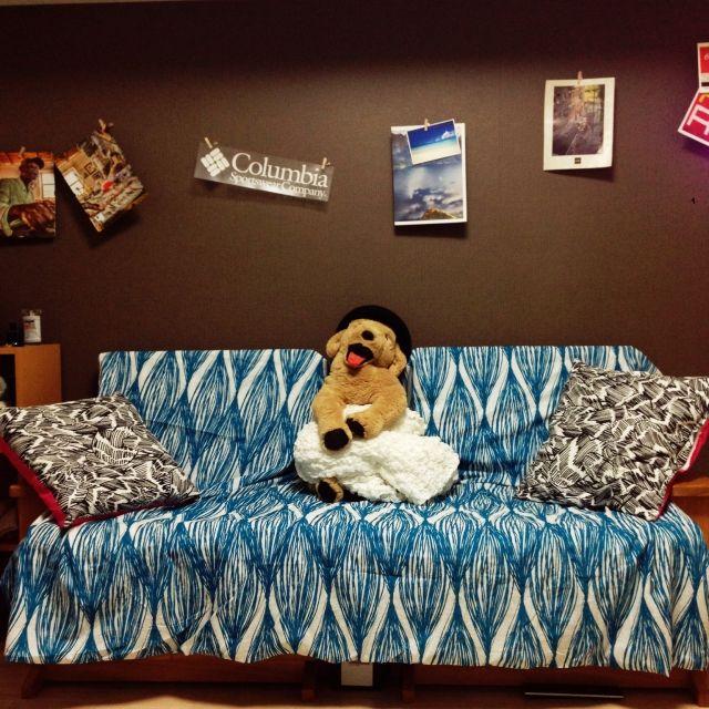 naccxxxchaさんの、犬,Relaxing,ウォールデコ,本当は布団カバー,blue,brown,IKEA,部屋全体,のお部屋写真