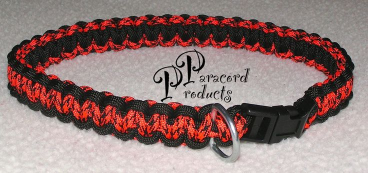 "A Cobra Stitch Dog Collar made of Paracord with a 1/2"" Black Contoured Buckle and D-Ring 25""-29"". - pinned by pin4etsy.com"