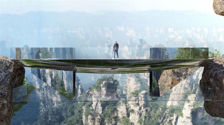 """Parque natural de Zhangjiajie, na província de Hunan. No local, que serviu de inspiração para o diretor James Cameron criar as montanhas flutuantes do filme """"Avatar"""", três 'pontes invisíveis' serão construídas até 2018. As estruturas serão feitas de vidro e espelho de aço inoxidável. As obras estão orçadas em € 5 milhões no espaço, composto por mais de 3.000 colunas arenosas com vegetação de floresta tropical, declaradas Patrimônio da Humanidade pela Unesco em 1992."""