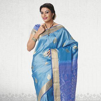 Sky Blue Hand Woven Pure Kanchipuram Handloom Silk Saree with Blouse