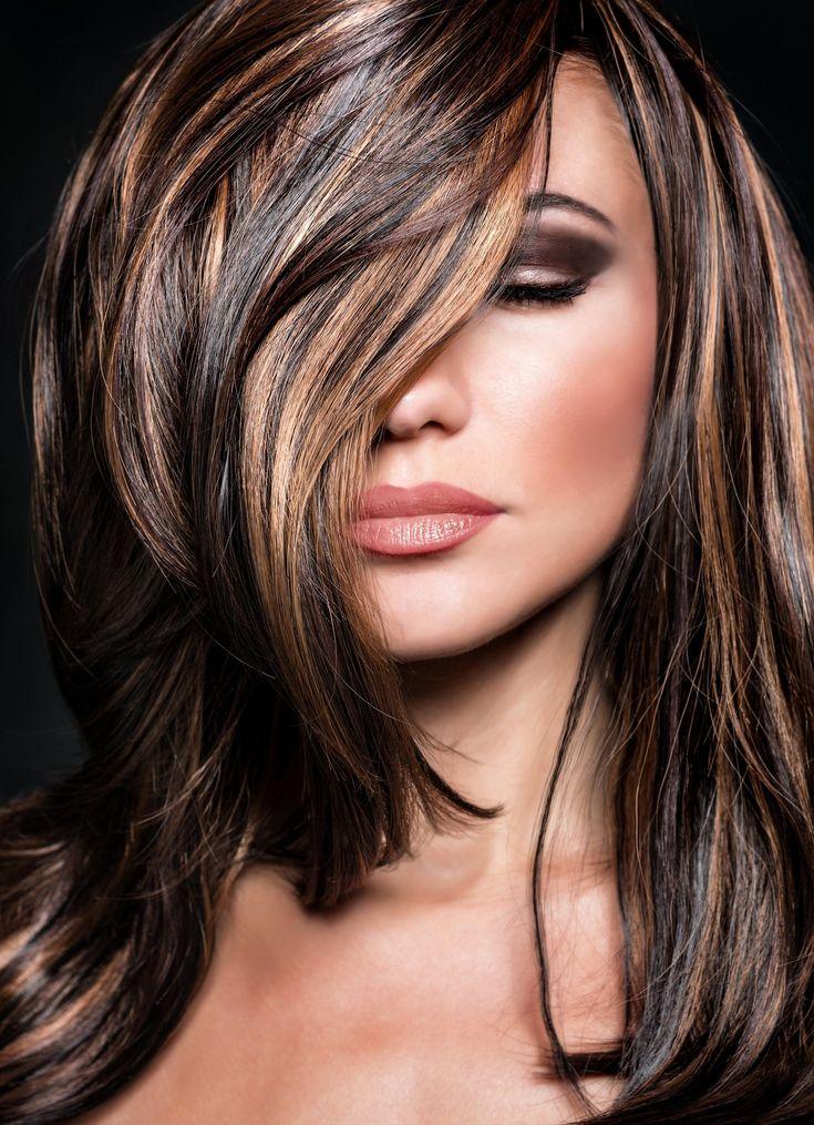Шоколадный цвет волос с мелированием фото