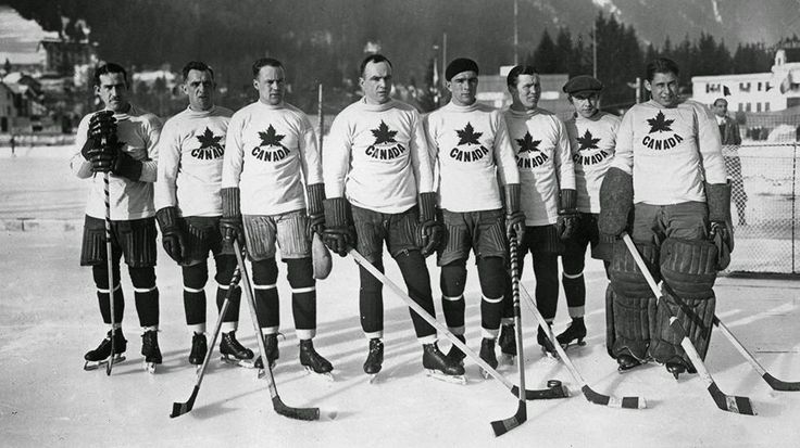 The Canadian ice hockey team, the Toronto Granites, beat the U.S. in the final 6-1 to take the gold medal during the 1924 Winter Olympics in Chamonix, France. (Topical Press Agency/Getty Images)