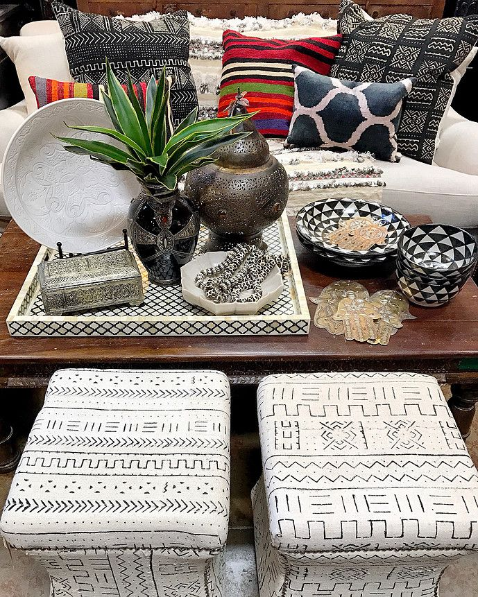 ... Bone Inlay Tray, Black And White Moroccan Pottery, And Layers Of Kilim,  Ikat And Mudcloth Pillows Tierra Del Lagarto   Scottsdale Furniture Store