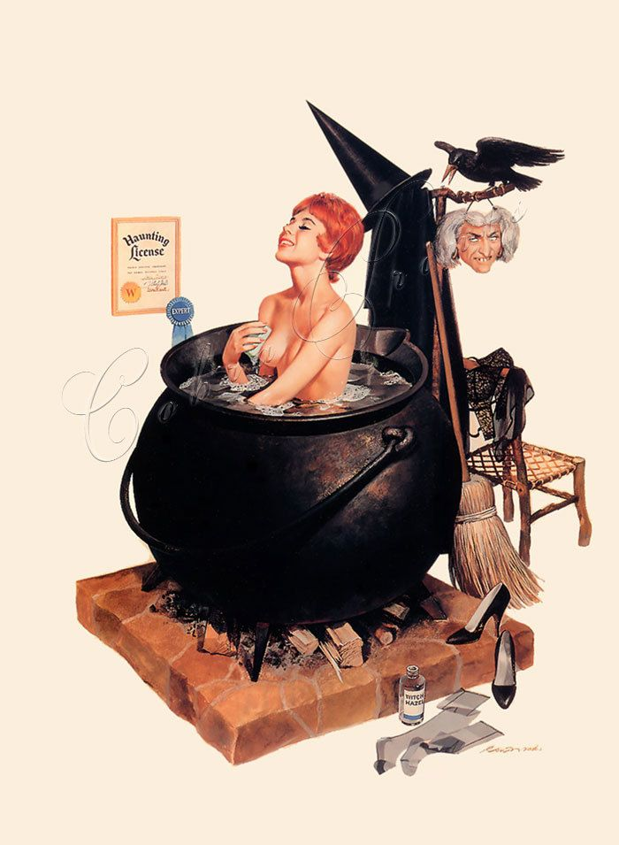 Halloween Witch Pin Up This Would Be Cute Framed In The Bathroom For