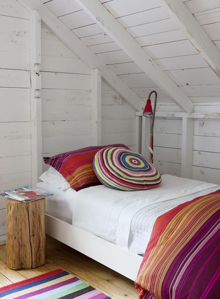 Bunkie stripes: Suzanne Dimma | House & HomeDorm Room, Photos Gallery, Attic Bedrooms, Bedside Tables, House, Crochet Pillows, Bedrooms Decor, Bright Colors, White Wall