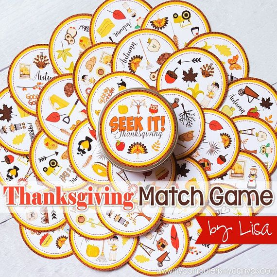 PRINTABLE Thanksgiving SEEK IT Match Game - great for keeping the kids entertained or perfect for a Family Game Night in November! #mycomputerismycanvas
