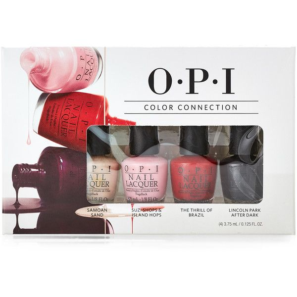 Opi 4-Piece Color Connection Nail Polish Set (37 SAR) ❤ liked on Polyvore featuring beauty products, nail care, nail polish, opi nail care, opi nail lacquer, opi nail varnish, opi nail color and opi
