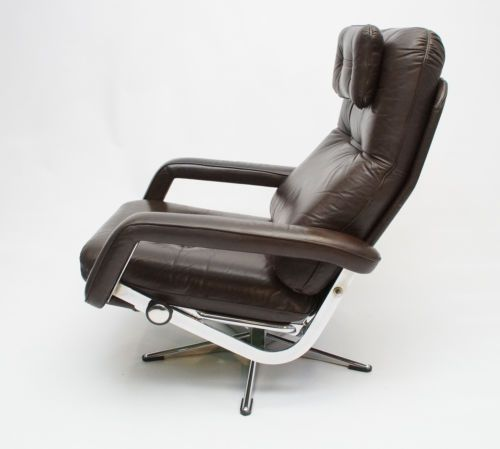 Danish Swivel Reclining Chrome And Leather Chair
