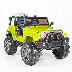 12V MP3 Kids Ride on Jeep Car R/C Remote Control, Lights Radio and Tunes - Green  Toys & Game