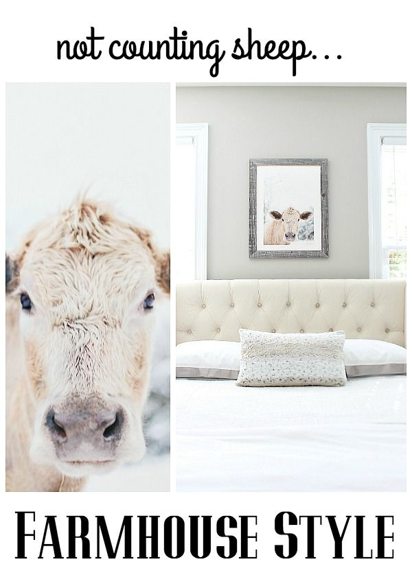 Create a restful guest room with neutral colors and plenty of personality with the Moo Cow Mint Print at refreshrestyle.com