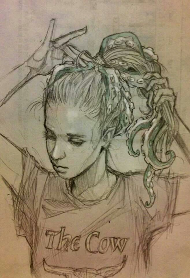 Sketch by Chiara Bautista aka Milk looks like dreads =]