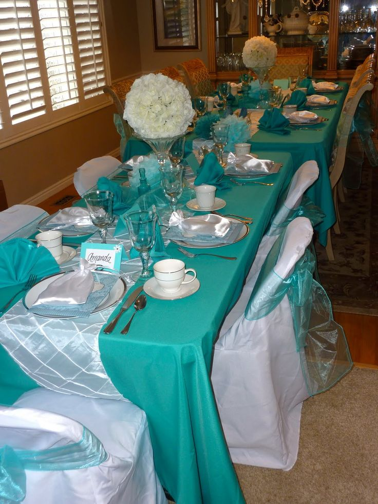 tiffany blue and black wedding decorations%0A tiffany party  table runners in blue and fake flower arrangments