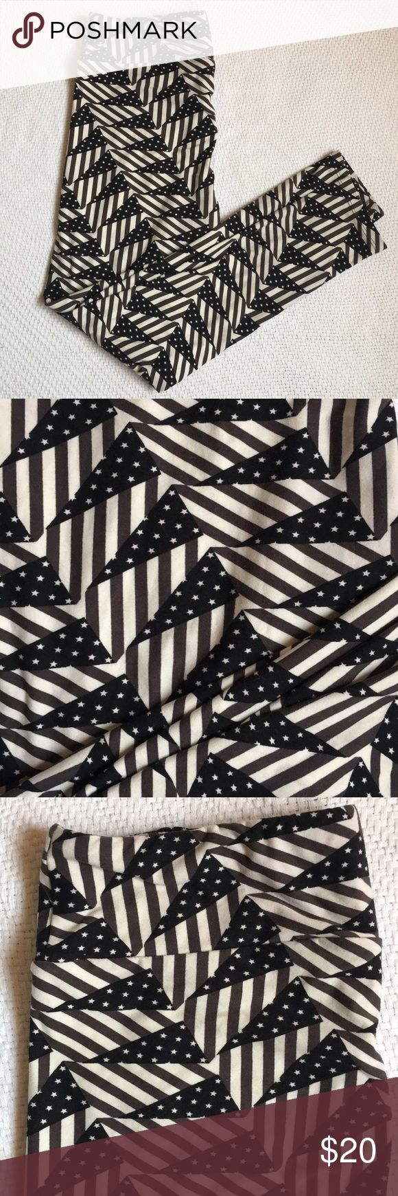 LuLaRoe Leggings TC brand new (LuLaRoe does not put tags on leggings)! from 2017 americana collection. hard-to-find. black and white american flag pattern; signature LuLaRoe buttery soft leggings. size 12-24 LuLaRoe Pants Leggings