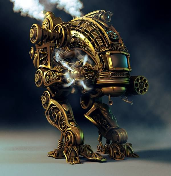 Steampunk Tendencies | Steampunk Mech by Alexey Zakharov #Digitalart #Steampunk #ED209 #Robocop