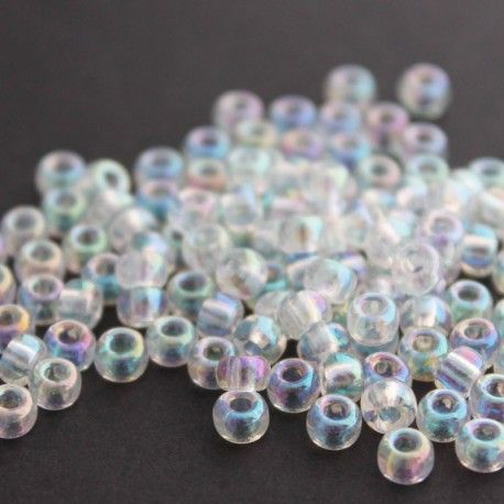 10g pack of size 6 transparent crystal Japanese glass seed beads with an AB coating. Ideal for bead weaving and loom work.