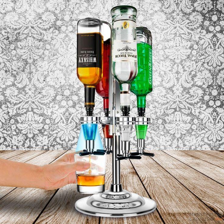 Barowy Stojak Bar Caddy. Efektowny stojak zmieści aż 4 butelki alkoholu!