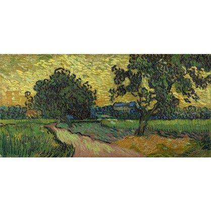 Landschap bij avondschemering, een prachtig kunstwerk van Vincent van Gogh. Geschilderd in juni 1890  Leverbaar in veel verschillende maten en lijsten - Vincent van Gogh - Woonaccessoires - WinjeWanje Interieurs