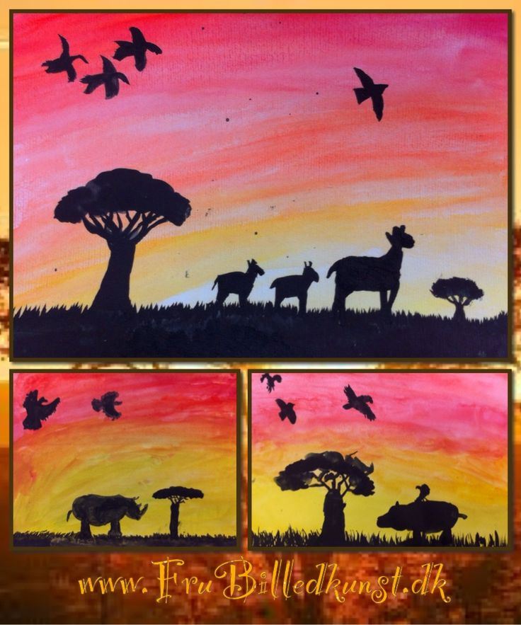www.FruBilledkunst.dk - afrikanske silhuetter - 5.klasse Artlesson African Silhouettes - 5th grade