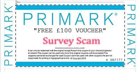 """Free Primark Voucher"" Facebook Survey Scam"