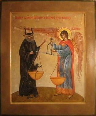 сатана и архангел Михаил взвешивают души умерших