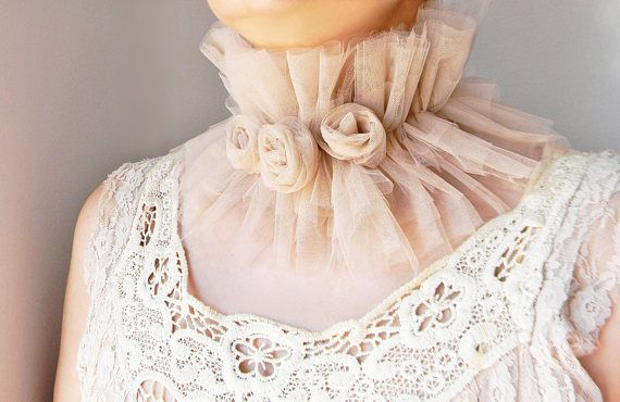 Nude Beige tulle collar with handmade roses Wide ruffle high collar Embellished neck collar Layered tulle ruff collar Rose collar necklace