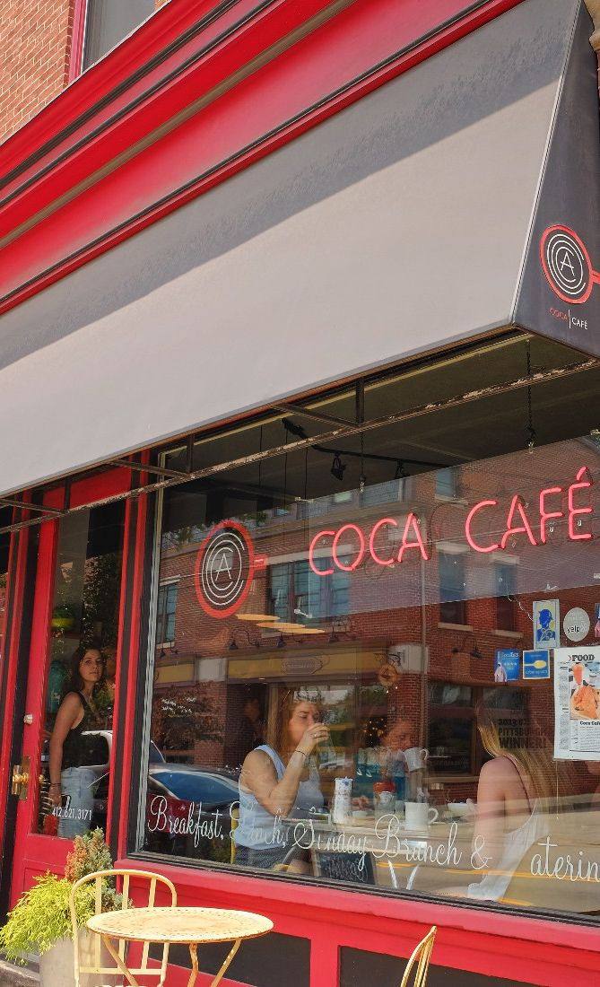 Coca Cafe is a brunch hotspot with gluten free options in the Lawrenceville neighborhood of Pittsburgh.