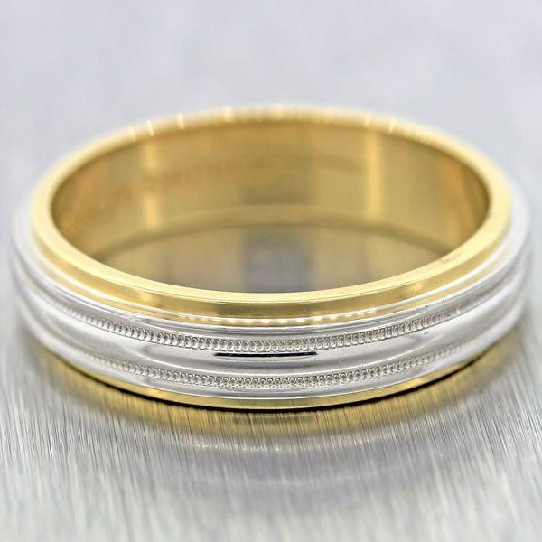 Mens Tiffany Co Platinum 18k Gold Milgrain 6mm Wedding Band Ring Size 12 75 Tiffanyco Rings Pinterest