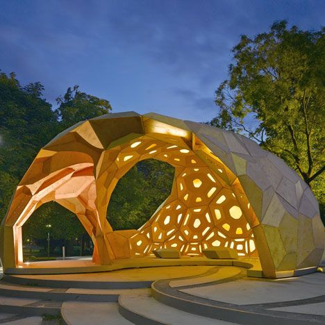 Polygonal timber plates give this pavilion at the University of Stuttgart a skeleton like a sea urchin's.