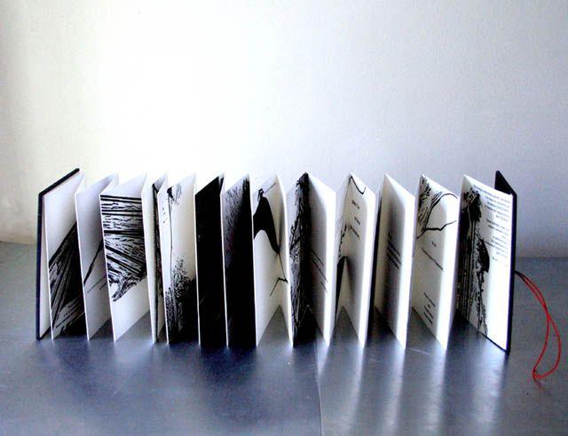 Livre d'artiste, Gravures, Bois gravé_Leporello_Printmaking, Christine Guichard_handmade book_woodcut_artist's book