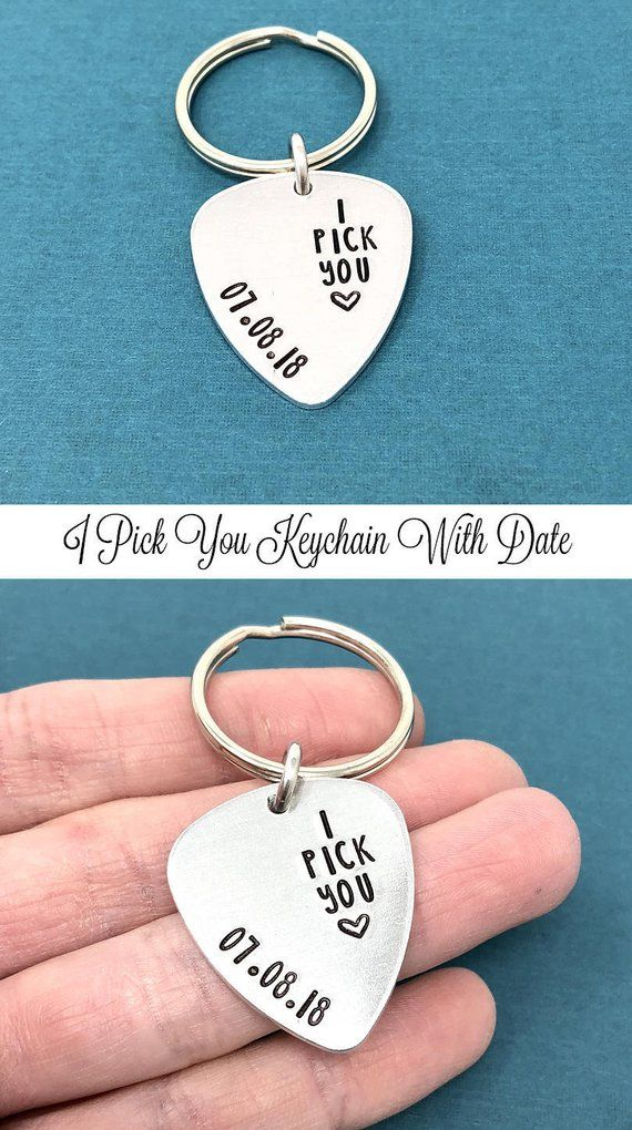 Anniversary Gift I Pick You Pick Guitar Pick Keychain Valentines Day Gift Husband Gift Long Distance