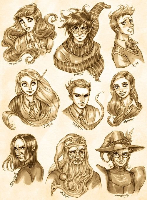 harry potter characters---luna ginny and hermione all look so pretty!