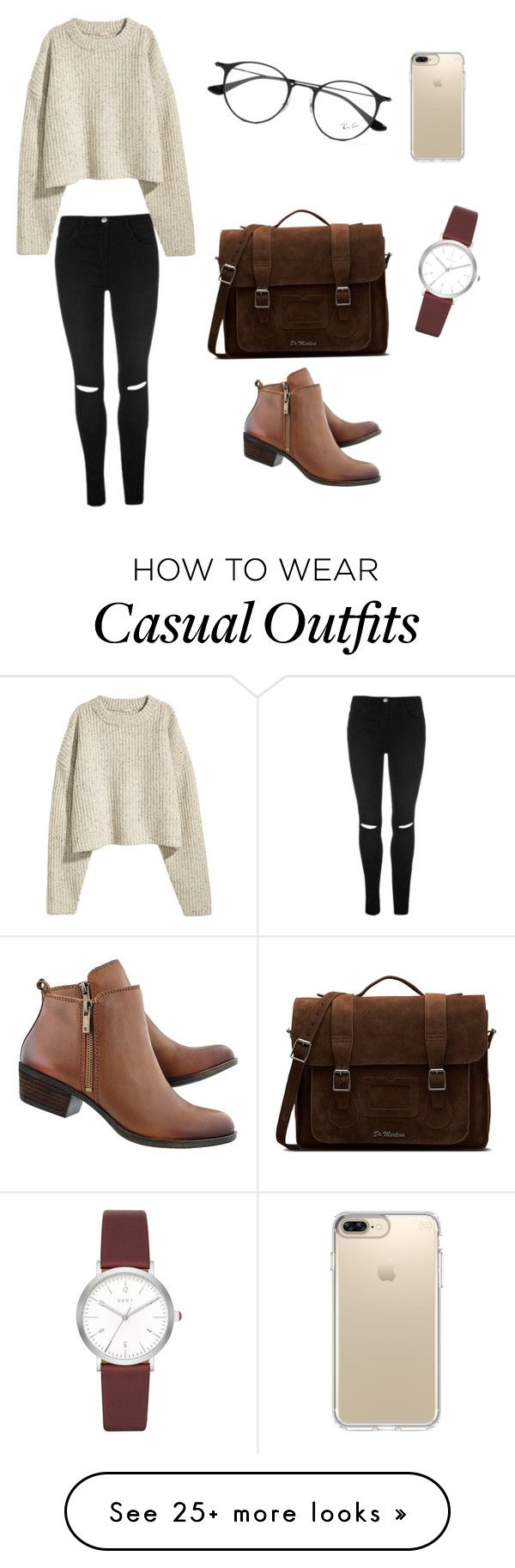 """""""Casual """" by meylinmilos on Polyvore featuring Dr. Martens, DKNY, Ray-Ban and Speck"""
