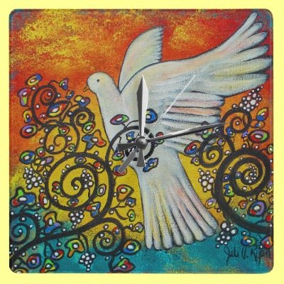 Peace Flew In Dove Clock by juliryan