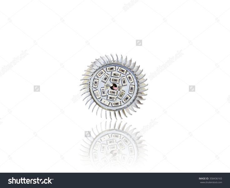 front view to LED light bulb isolated on white background with reflection