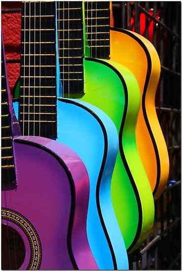 Colorful guitars. Display at L.A. County Fair.