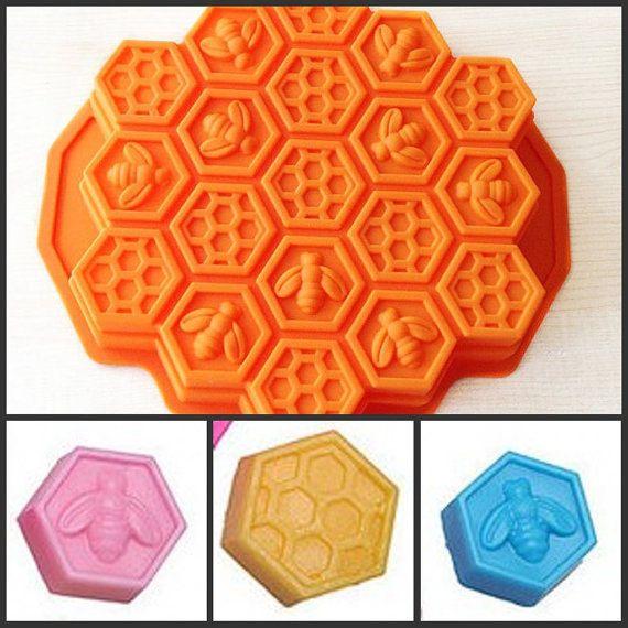 Bee Honeycomb Cake Mold Baking Mould Silicone Mold by soapmoldiy