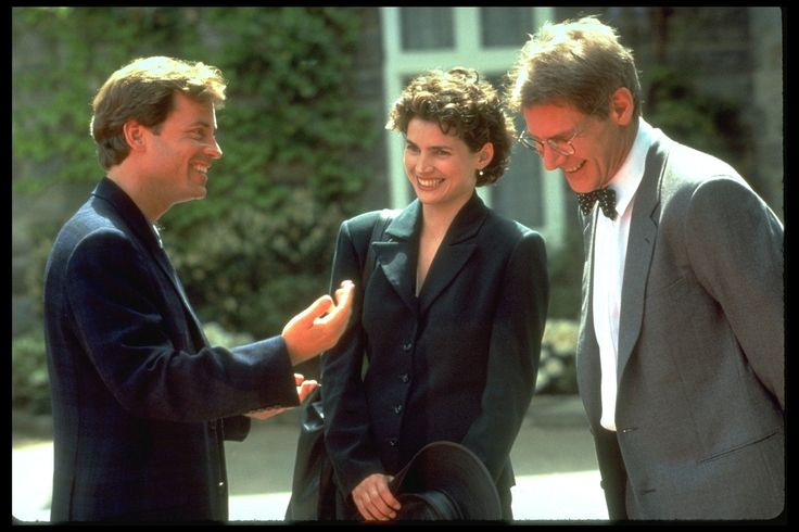 Greg Kinnear, Julia Ormond, and Harrison Ford on the set of SABRINA (1995)