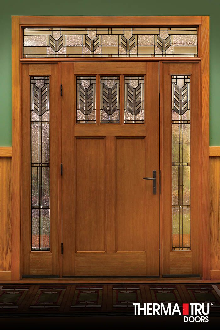 Therma tru classic craft american style collection fiberglass door with villager decorative for Therma tru exterior doors fiberglass