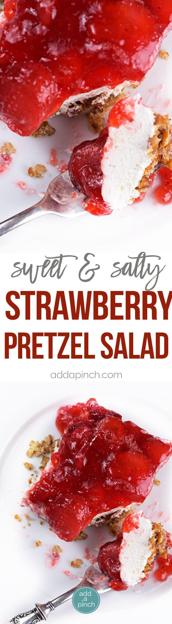 ***Strawberry Pretzel Salad Recipe ~ makes a classic, nostalgic recipe. A creamy, fruity recipe made with strawberry gelatin, cream cheese, whipped topping, and pretzels. It is always a favorite.