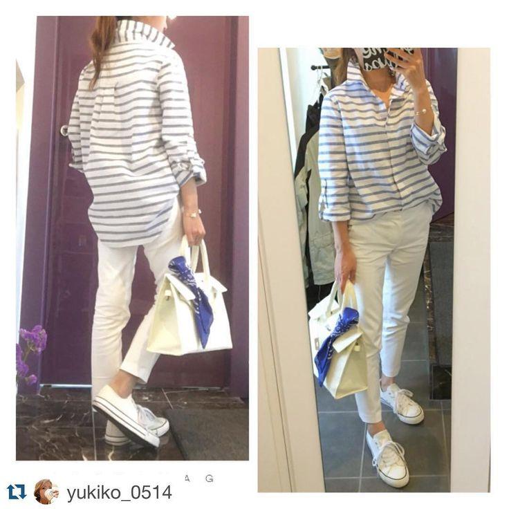 ロコッタコーデ  ありがとうございます#Repost @yukiko_0514 with @repostapp. ・・・ 今日は今年度初の参観会行ってきました✨  役員も無事スムーズに決まり、希望のボランティアにもつけていいスタートが切れました  そんな本日は暑い暑い 爽やかコーデしました←自称  #coordinate#fashion#ootd#spring#summer#shirt#blue#bag#shoes#kaumo_fashion#mery#locari#ママ雑誌sakura#ファッション#コーデ#ママコーデ#春#夏 #rocotta #ボーダーシャツ #クロップドパンツ#Moery#rocotta #靴#しまむら #カゴバーキン #バンダナ