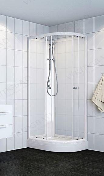VikingBad dusjk buet 80x90x190 V Hvite profiler, frostet gl.